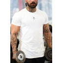 Bodybuilding Guys Short Sleeve Crew Neck Patterned Regular Fit T Shirt
