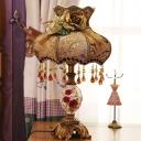 Printed Fabric Coffee Night Lamp Scalloped Vase 1 Head American Garden Table Light with Drape