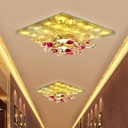 Minimalism Floral Flush Light Fixture Clear Crystal LED Ceiling Flush Mount in Warm/White Light