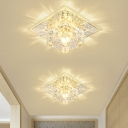 Cubic Clear Crystal Flush Mount Lamp Modernism LED Entry Ceiling Light Fixture in Warm/White Light