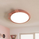 Kids Round Flush Mount Lamp Metallic LED Bedroom Flush Light Fixture in Pink with Clover Deco, White/Warm Light