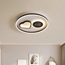 Coffee Love and Moon Ceiling Flush Modern Romantic Acrylic LED Flush Mount Recessed Lighting in Warm/White Light