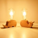 Wood Sheep/Cow/Fish Mini Night Lamp Kids Style 1-Light Beige Table Light with Exposed Bulb Design