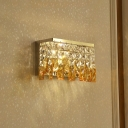 Modernism Rectangle Sconce Light Clear and Amber Crystal Block LED Wall Lighting Fixture