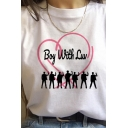 Basic White Letter Boy with Luv Cartoon Graphic Short Sleeve Crew Neck Loose Fit Tee Top