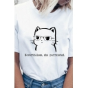 Letter Nevertheless She Purrsisted Cat Graphic Short Sleeve Round Neck Relaxed Casual T Shirt in White