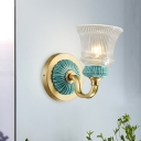 Bell Bedroom Wall Mount Lighting Rural Style Clear Ribbed Glass 1 Light Gold Wall Sconce with Swirl Arm