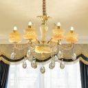 Retro Candle Style Chandelier 6/8 Lights Amber Glass Hanging Lamp in Gold with Faceted Crystal Drops