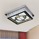 Chrome LED Ceiling Flush Mount Contemporary Crystal Encrusted Square Flush Light Fixture