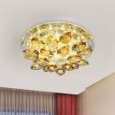 Circular Foyer Ceiling Light Simple Beveled Crystal LED White Flush Mount Fixture in Warm/White Light