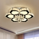 Simple Flower Flush Mount Lamp Multifaceted Crystal Ball LED Ceiling Light in Chrome, 18