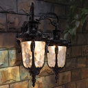Urn Dimple Glass Wall Lighting Rural 2 Heads Corridor Wall Mounted Light Fixture in Black/Bronze