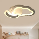 Nordic LED Semi Flush Mount White Cloud and Moon/Airplane Flushmount Lighting with Acrylic Shade