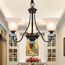 White Glass Black Pendant Chandelier Flared 3/6 Lights Traditional Style Suspension Lighting with Twisted Arm