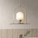 1 Bulb Dining Room Pendant Lamp Modern Brass Hanging Light Kit with Tubular Milk Glass Shade