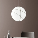 Round Bedroom Pendant Lighting White Glass 1 Head Minimalism Ceiling Suspension Lamp