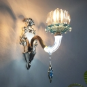 Retro Lotus Wall Light Kit Single-Bulb Clear and Blue Glass Wall Mount Lamp with Gold Wavy Arm