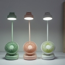 Animal Plastic Reading Book Light Cartoon White/Pink/Green LED Study Lamp with Adjustable Fan Design