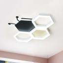 Bee Nursery Flush Light Fixture Acrylic LED Kids Ceiling Flush Mount in Black/Pink, Warm/White Light