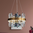 Gold Halo Chandelier Lighting Contemporary Clear Crystal Living Room LED Hanging Pendant