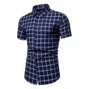 Leisure Mens Plaid Printed Short Sleeve Point Collar Button up Slim Fit Shirt Top