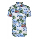 Hawaii Guys Allover Floral Printed Short Sleeve Turn-down Collar Button down Curved Hem Shirt in White