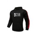 Leisure Boys Star Letter Geo Graphic Contrasted Long Sleeve Pouch Pocket Slim Fit Hoodie