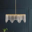 Rectangle Restaurant Island Lighting Postmodern Crystal LED Brass Pendant Ceiling Light