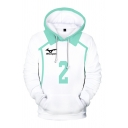 Popular Number 3D Printed Contrasted Long Sleeve Drawstring Kangaroo Pocket Relaxed Fit Hoodie in White
