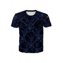 Chic 3D Abstract Geometric Printed Short Sleeve Crew Neck Regular Fit T-shirt for Boys