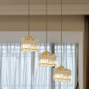 Crystal Loving Heart Cluster Pendant Modern 3 Heads Dining Table Suspension Light in Gold
