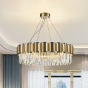 Black-Gold 8 Bulbs Pendant Lamp Modern Crystal Icicle Round Chandelier Lamp over Table