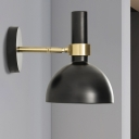 Nordic Dome Rotatable Wall Reading Lamp Iron 1-Light Bedside Wall Mounted Fixture in Black/White and Brass