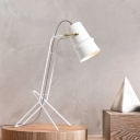 White Flexible Horn Shaped Table Lamp Minimalistic 1-Light Metal Nightstand Light with Adjustable Stand