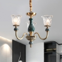Flower Clear Glass Ceiling Chandelier Classic 3/8 Bulbs Restaurant Pendant in Gold with Ceramic Decor