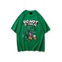 Popular Guys Letter Donot Bother Me Dinosaur Graphic Short Sleeve Crew-neck Drop Shoulder Oversize Tee Top