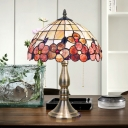 2-Light Bedside Desk Light Victorian Gold Flower Patterned Night Table Lamp with Bowl Shell Shade