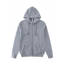 Casual Solid Color Zipper Drawstring Pocket Long Sleeve Regular Fitted Hoodie for Men