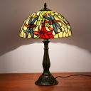1 Head Nightstand Light Baroque Bowl Shade Hand Cut Glass Dragonfly and Red Flower Patterned Table Lamp in Bronze
