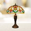 Bronze 2 Heads Night Lighting Tiffany Style Stained Glass Domed Shade Pull Chain Nightstand Lamp for Bedroom
