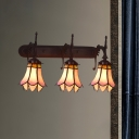 3-Light Wall Sconce Tiffany Style Morning Glory/Flower Pink Glass Wall Mounted Lighting Fixture
