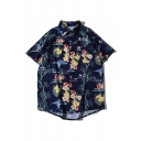 Casual Mens All-over Floral Printed Short Sleeve Turn-down Collar Button up Loose Shirt Top in Navy
