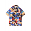 Popular Allover Cartoon Printed Short Sleeve Spread Collar Button down Relaxed Fitted Shirt Top in Blue