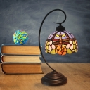 Beige/Blue Domed Desk Lamp Tiffany 1 Head Stained Art Glass Table Light with Floral and Dragonfly Pattern