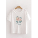 Fashion Girls Letter Fresh Is My Style Flower Graphic Lace Patched Short Sleeves Round Neck Relaxed T Shirt in White