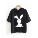 Popular Ladies Rabbit Printed Short Sleeve Round Neck Relaxed Fit Tee Top