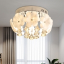 Petal White Glass Ceiling Flush Minimalism 2 Lights Foyer Flush Mount in Chrome with Diamond Crystal