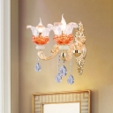 Beveled Crystal Candelabra Sconce Traditionalism 2 Bulbs Bedroom Wall Lighting Fixture in Pink/Orange/Yellow
