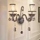 1/2-Light Flared Wall Light Classic Smoke Gray Crystal Wall Sconce with Fabric Shade