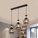 Cutous Teardrop Cluster Pendant Light Modernism Inserted Crystal 3 Lights Black Hanging Lamp Kit